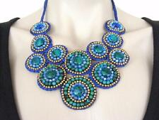 $58 Panacea Blue/Green Crystal Multi Beaded Statement Macrame Bib Necklace AS-IS