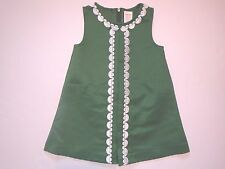 GYMBOREE Baby Girl Hunter Green White Embroidered A-Line Dress Set Size 18-24 M
