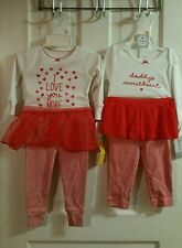 NWT Carter's girls 12 months Valentine's outfit and pajamas lot