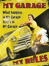 Large Vintage Style Retro Metal Wall Plaque MY GARAGE MY RULES Tin Sign Dad Gift