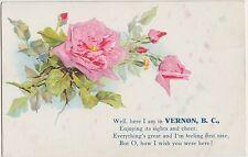 Canada Postcard Embossed c1910 VERNON British Columbia BC Greetings FLowers
