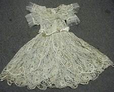 RARE VTG VICTORIAN CHILD / GIRL WHITE LACE DRESS WITH WAX FLOWERS & RHINESTONES