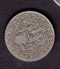 "Morocco (French) 1 Franc Coin SILVER COIN,  ""Yusuf "" 1372"