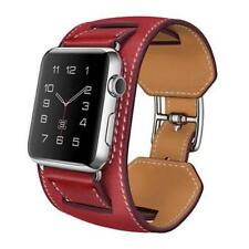 Premium Quality Genuine Leather Red Cuff Band Strap For Apple Watch iWatch 42MM