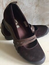 Merrell Plaza Bandeau Chocolate Brown Suede Mary Janes Clogs Shoes Women's S 8.5
