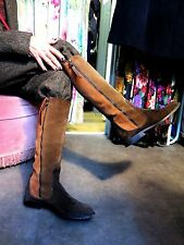 Rrp£500 Designer Hogan Brown Golden Real Suede Leather Flat Long Boots, Size 4.5