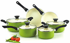 Nonstick Ceramic Coating PTFE-PFOA-Cadmium Free 10-Piece Cookware Set, Green