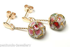 9ct Gold Chinese Enamel Ball drop earrings Made in UK Gift Boxed