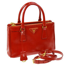 100% Authentic PRADA Logos 2way Hand Bag Red Saffiano Leather Italy GHW BT12437