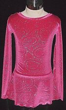 HOT PINK WITH SILVER SPARKLES Ice Figure Skating Dress GIRLS LARGE 12 / 14