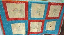Vintage Child's Quilt  41x57  Hand Embroidered Birds  State Names