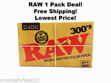 RAW 300's Hemp Rolling Papers 1 1/4 SIZE *1 PACK 300 Leaves* FREE SHIP W/TRACK