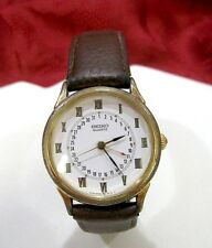SEIKO MEN'S QUARTZ POINTER DATE WATCH LEATHER BAND MODEL 6F25-6019 RUNS GREAT