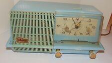 VINTAGE 1950s SPACE AGE GENERAL ELECTRIC TUBE CLOCK RADIO! BLUE! WORKS! RETRO!