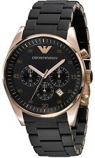 Emporio Armani AR 5905, Black Silicon Chronograph Strap Watch For Men