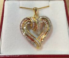 14k Yellow Gold Sterling Silver 1 Carat Ct Diamond Pave HEART Pendant Necklace