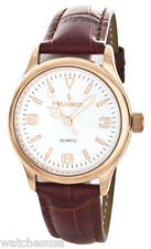 Peugeot Women's White Enamel Dial Rose Gold-tone Case Leather Band Watch 7065RG