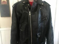 MENS Leather Jacket DIAMOND PLATE BLACK BUFFALO  3X Motorcycle NWT 185$