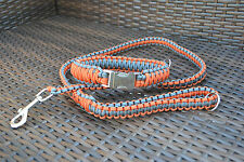 Paracord Dog Leash (1 Meter) and King Cobra Collar with Large Metal Buckle
