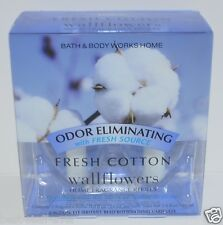 2 BATH & BODY WORKS FRESH COTTON WALLFLOWER FRAGRANCE REFILL BULB PLUG IN NEW