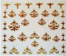 3D Nail Art Decals Transfer Stickers Gold Coloured Regal Patterns (3D6013)