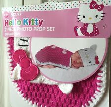 Hello Kitty Infant Picture Prop Crochet Outfit Girls 0/3 Months Hot Pink White