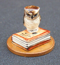 1:12 Scale Ceramic Owl On A Closed Book Dolls House Miniature Bird Accessory B