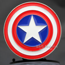 Men Captain America Shield Avengers Superhero Comics Silver Metal Belt Buckle