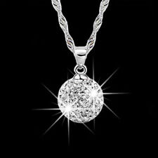 2pcs Fashion Silver Plated Crystal Rhinestone Necklace Pendant Gift for Women