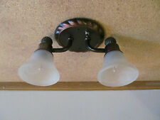 Dainty 2 Arm Oil Rub Bronze 12 VOLT RV Creamy Alabaster Ceiling Dinette Light