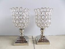 Set of 2 Crystal Votive Tealight Candle Holders Wedding Centerpieces Candelabra.