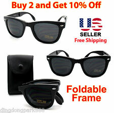 FOLDING FRAME BLACK WAYFARER SUNGLASSES SHADES STORAGE POUCH w BELT LOOP