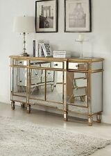 Modern Glam Mirrored Console Gold Cabinet Dresser Chest Contemporary Furniture