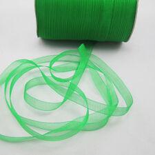 """50 Yards 3/8"""" Sizes Satin Edge Sheer Organza Ribbon Bow Craft Green Colors ZG1"""