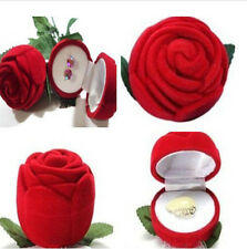 Rose Romantic Wedding Ring Earring Pendant Jewelry Display Gift Box Red