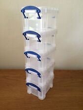 Sizes 0.14 Litre Really Useful Boxes Set Of 5 Clear Storage Boxes Back to School