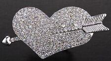Love Heart & Cupid Arrow Stretch Ring Silver Crystal Rhinestone Fashion RD51