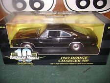"1""18 ertl 1969 dodge charger 500 black chrome rare"