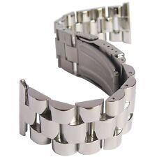 22mm Hadley-Roma MB9026 Polished Stainless Steel Solid Link Watch Band Bracelet