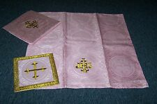 Rose Altar Chalice Pall Veil & Burse Set vestment church chasuble mass advent
