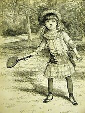 Little Victorian Girl PLAYING TENNIS - RACKET in HAND 1884 Antique Print Matted