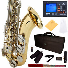 MENDINI GOLD LACQUERED NICKEL KEYS TENOR SAXOPHONE SAX W/ TUNER, CASE, CAREKIT