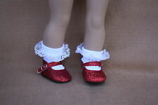 Doll Clothes fitting 18 inch American Dolls RED SPARKLE SHOES & Lace Socks