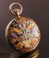 18k Solid Gold  Waltham Cloisonne Hunt Case Pocket Watch c.1877 Must See This