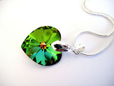 Swarovski® Green Crystal Heart Pendant Necklace Silver Plated