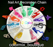 #R53  3D Fashion Nail Art Tips Decoration 12 Color Glitter Soft Chain +Wheel