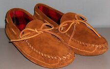 MINNETONKA MENS MOCCASINS SUEDE BROWN FLEECE LINING M9