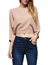 Dance & Marvel Mari cropped blouse Top batwing arm Size Small Nude color