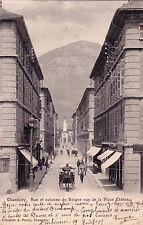 CHAMBERY rue et colonne de boigne vus place château attelage éd perrin timbrée