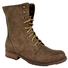 LADIES WOMENS WORKER COMBAT BIKER MILITARY FLAT LACE UP ANKLE BOOTS SHOES SIZE